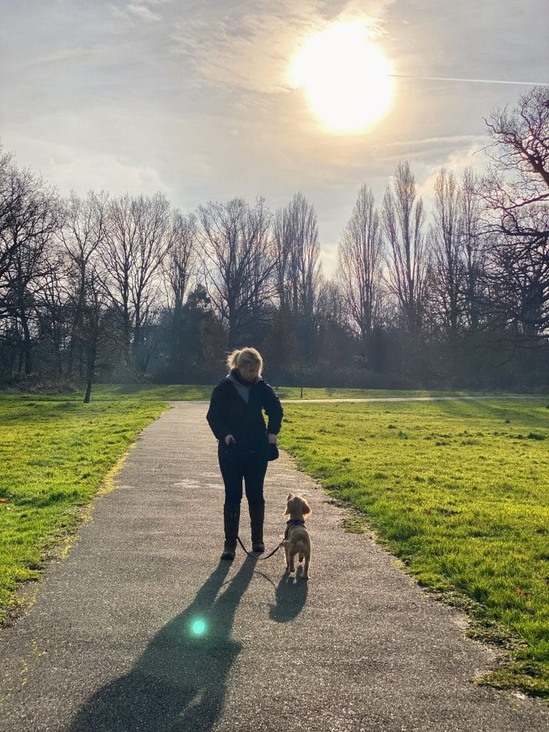 cathy rocket walking and training in the park
